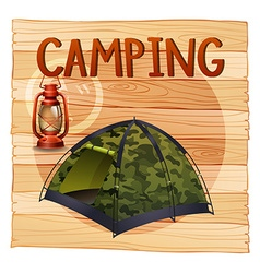 Camping equipments with lantern and tent vector
