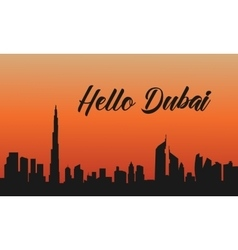 Dubai city at sunset of silhouette vector image vector image