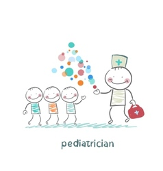 pediatrician shows children miracle vector image
