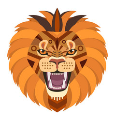 angry lion head logo decorative emblem vector image vector image