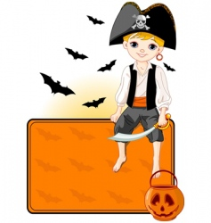 little Halloween pirate place card vector image