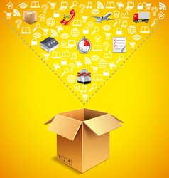 Opened parcel box and many logistics icons falling vector image vector image