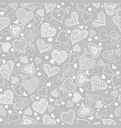Silver grey doodle hearts seamless pattern vector