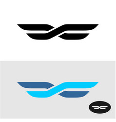 two lines intersected as wings title logo vector image vector image