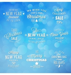 Christmas and New Year Vintage Typography Holidays vector image vector image