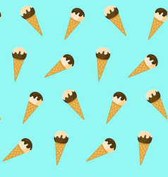cute pattern with ice cream in waffle cones vector image