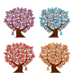 four tree with ribbons vector image