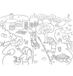 kids coloring cartoon on the theme of harvest vector image