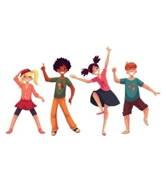 Little kids dancing expressively cartoon style vector image