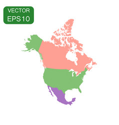north america map icon business cartography vector image vector image