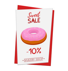 Set of pastry poster banner for sale of donut vector