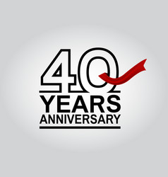 40 years anniversary logotype with black outline vector