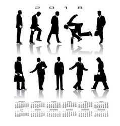 a 2018 calendar with 10 businessmen silhouettes vector image