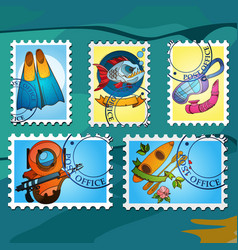 a set of stylized for postage stamps on the topic vector image