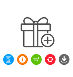 Add gift box line icon present sign vector