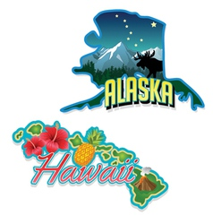 Alaska Hawaii retro state facts vector image