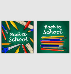 back to school banner concept set realistic style vector image