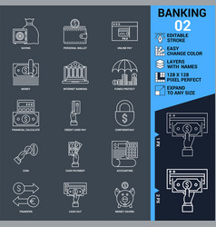 Banking icons set thin line vector