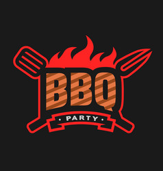 Barbecue party logo emblem vector
