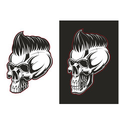Barber skull half profile vector