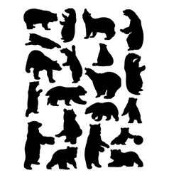 bear animal silhouettes vector image