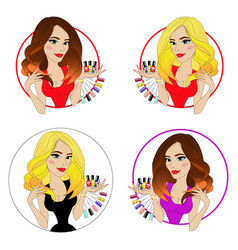 beauty girl face with colorful nail polish vector image