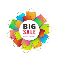 Big sale with shopping bags in shape vector