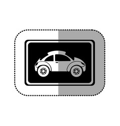 Black square with sport car side inside vector
