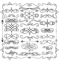 Black Vintage Hand Drawn Swirls Collection vector image