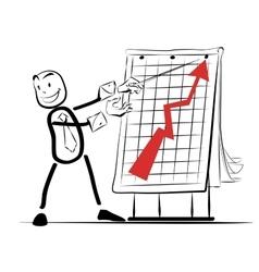 Businessman presentation graph growth success of vector