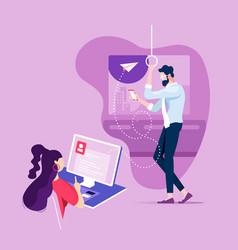 Businesswoman sending an email communication vector