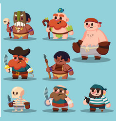 Cartoon aborigine shaman pirate game sprite cute vector