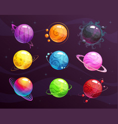 cartoon colorful fantasy planets set on space vector image