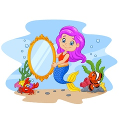 Cartoon funny mermaid holding a classic mirror vector image