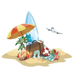 cartoon island in sea with luggage vector image