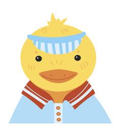 cartoon portrait a duckling stylized happy vector image