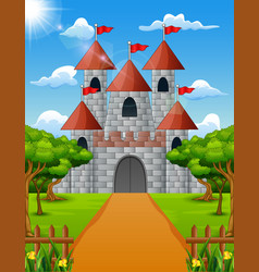 castle view from the front with green plant vector image