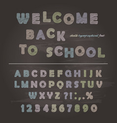 chalk font design on chalkboard background vector image