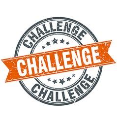 Challenge round orange grungy vintage isolated vector