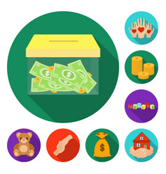 Charity and donation flat icons in set collection vector