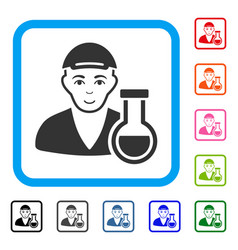 Chemistry man framed glad icon vector