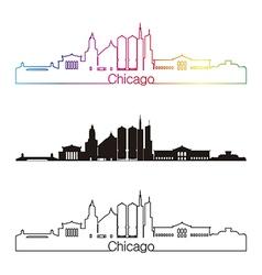chicago skyline linear style with rainbow vector image