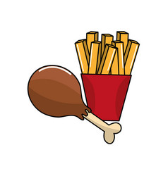 Chicken thigh and fries french icon vector