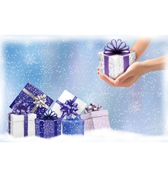 Christmas background with gift boxes Concept of vector image