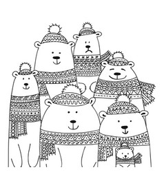 christmas card with white santa bears family vector image