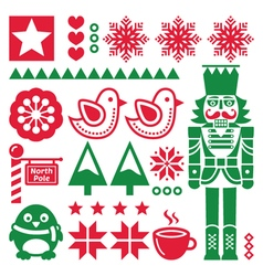 Christmas red and pattern with nutcracker - folk vector