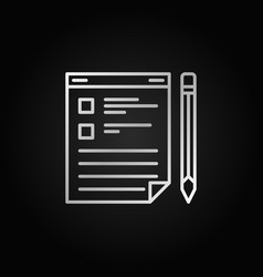 clipboard with pencil silver outline icon vector image