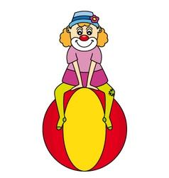 clown make up a balance ball vector image