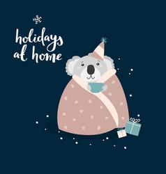 Coala bear celebrating christmas at home cute vector