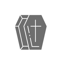 coffin tomb gray icon isolated on white vector image